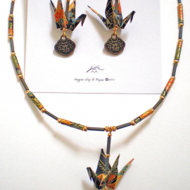 Origami Crane Earring & Necklace set