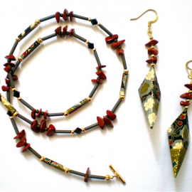 Origami inspired Earring & Necklace set