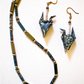 Origami Earrings and Necklace set with Blue Tones