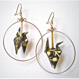 Origami Crane Earrings in Hoops
